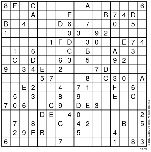 photograph regarding 16 Square Sudoku Printable identified as The Everyday SuDoku
