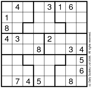 image relating to 6x6 Sudoku Printable known as The Day by day SuDoku